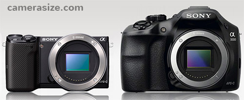Sony NEX-5T and A3000 size comparison