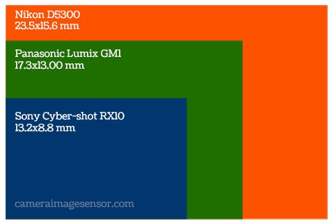 Sensor size comparison: Sony RX10, Panasonic GM1 and Nikon D5300