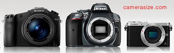 Sony RX10, Nikon D5300 and Panasonic Lumix GM1 size comparison