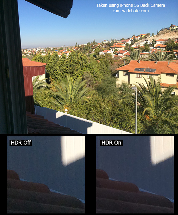 Landscape image with HDR on and off using iPhone 5S camera