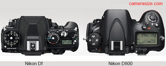 Nikon D800 vs Nikon Df size comparison
