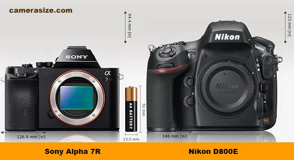 Sony A7R vs Nikon D800E camera size comparison