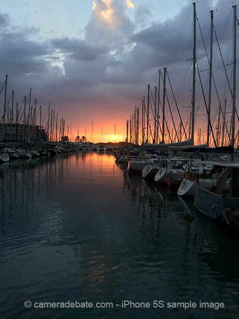 sunset boats in marina