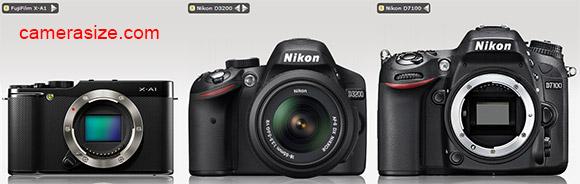Fujifilm X-A1 vs Nikon D3200 / D7100 size comparison