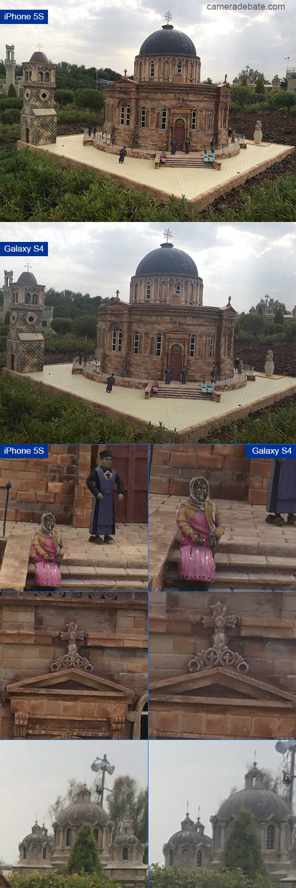 Picture of a miniature church, comparing iPhone 5S and Galaxy S4 image quality