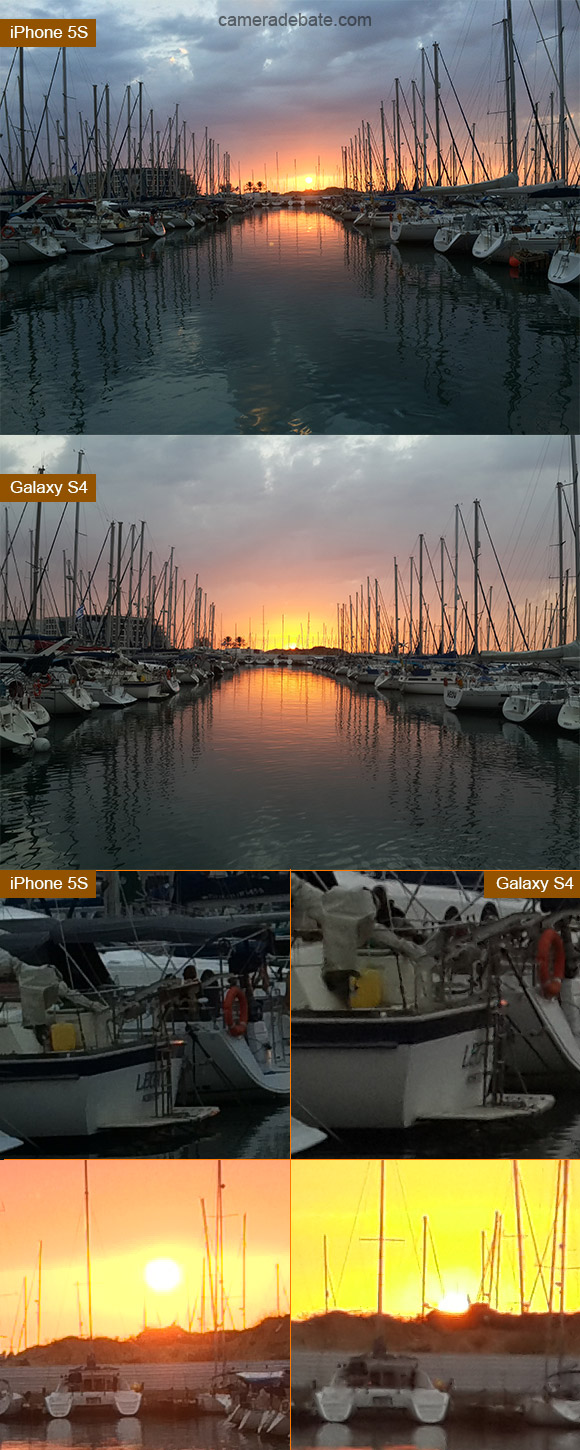 Sunset at the marina image quality comparison