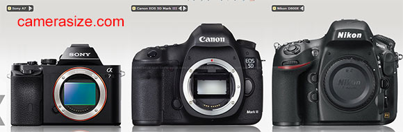 Sony A7 vs Canon 5D Mark III, Nikon D800E size comparison