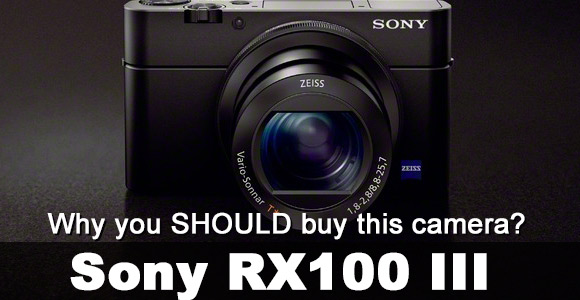 Sony RX100 III camera on a dark background