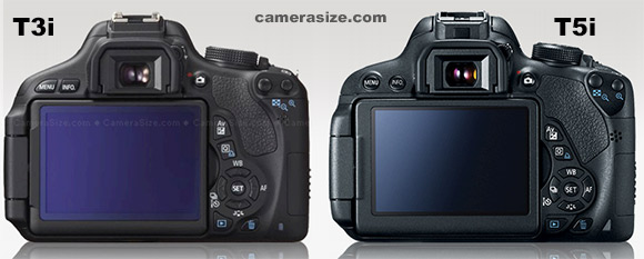 Canon T3i and T5i side by side size comparison
