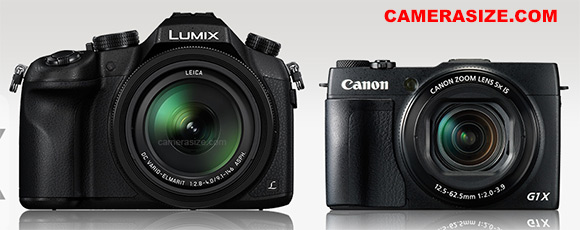 Panasonic FZ1000 and Canon G1X Mark II size comparison