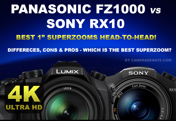 Panasonic FZ1000 and Sony RX10 side by side, 4K logo
