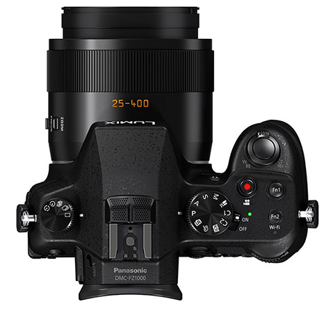Panasonic Lumix FZ1000 superzoom camera, top view