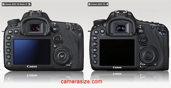 Canon 7D Mark II vs 7D size comparison