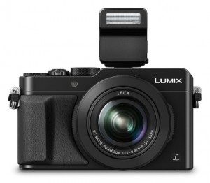 Panasonic LX100 with bundled flash attached