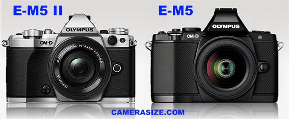 Olympus E-M5 II vs E-M5 size comparison