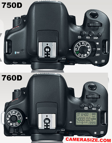 750D vs 760D camera size comparison
