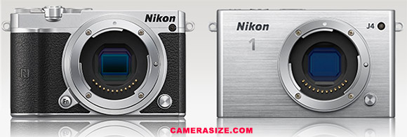 Nikon 1 J5 and J4 side by side size comparison
