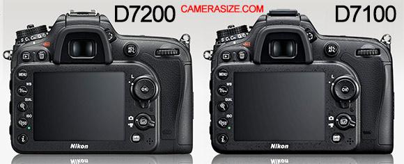 D7200 vs D7100 rear size comparison