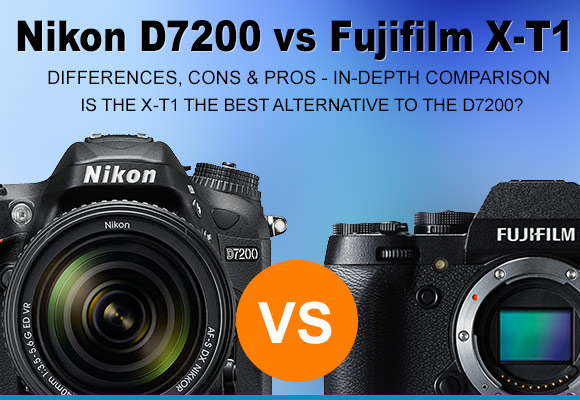 Nikon D7200 and Fujifilm X-T1 cameras side by side
