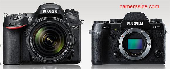 Nikon D7200 vs Fujifilm X-T1 size comparison