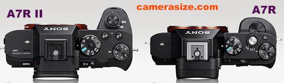 A7R II vs A7R camera size comparison top view