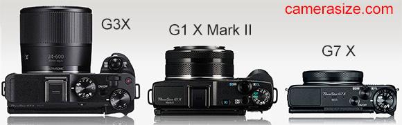 G3X vs G1X Mark II vs G7X camera size comparison
