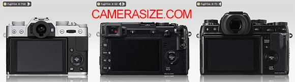 X-T10 vs X-E2 vs X-T1 camera size comparison rear