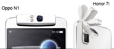 Honor 71 and Oppo N1 flip up camera side by side