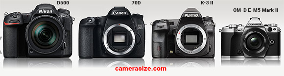D500, 70D, K-3 II and E-M5 Mark II side by side