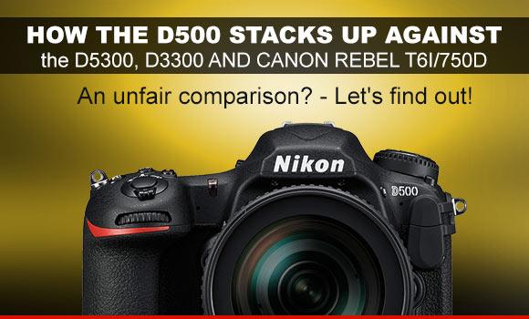 Nikon D500 camera on a yellowish background