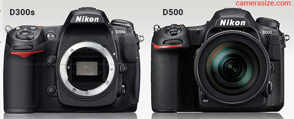 Nikon D500 and D300s side by side (camerasize.com)