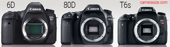 Canon 6D, 80D and T6s cameras side by side