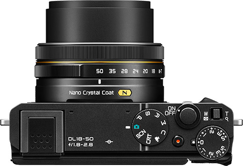 Nikon DL18-50 premium compact camera top view