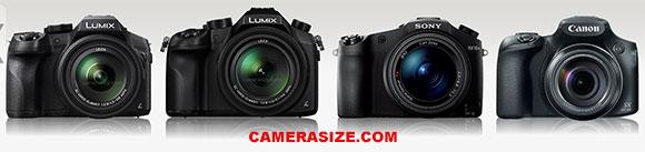 FZ300, FZ1000, RX10 II and SX60 HS camera size comparison