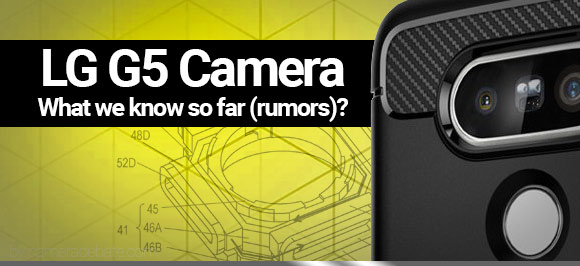LG G5 case and dual camera setup on yellow background