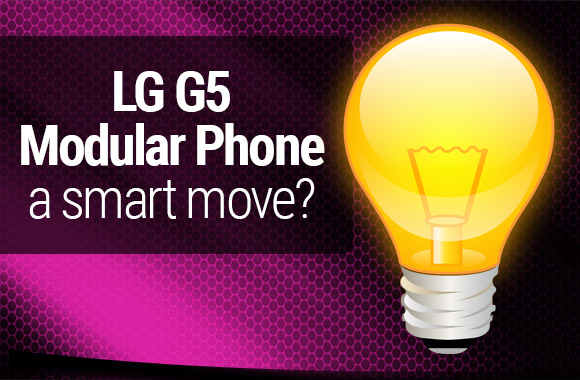 LG modular phone text with light bulb image