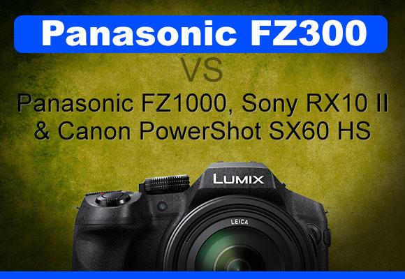 Panasonic Lumix FZ300 superzoom camera on grungy yellow background