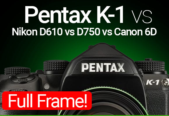 Pentax K-1 Full Frame camera on greenish color background