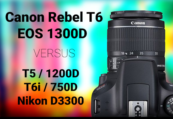 Canon Rebel T6 camera with colorful background