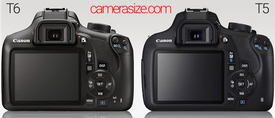 Canon T6 vs T5 side by side size comparison