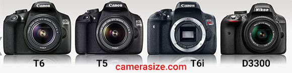 Canon T6, T5, T6i and Nikon D3300 cameras side by side